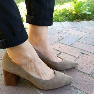 Matiko Oda Block Heel Pointed Toe Suede Pumps
